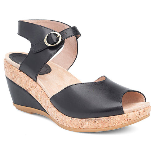 Dansko Charlotte Wedge Sandal - Black Leather