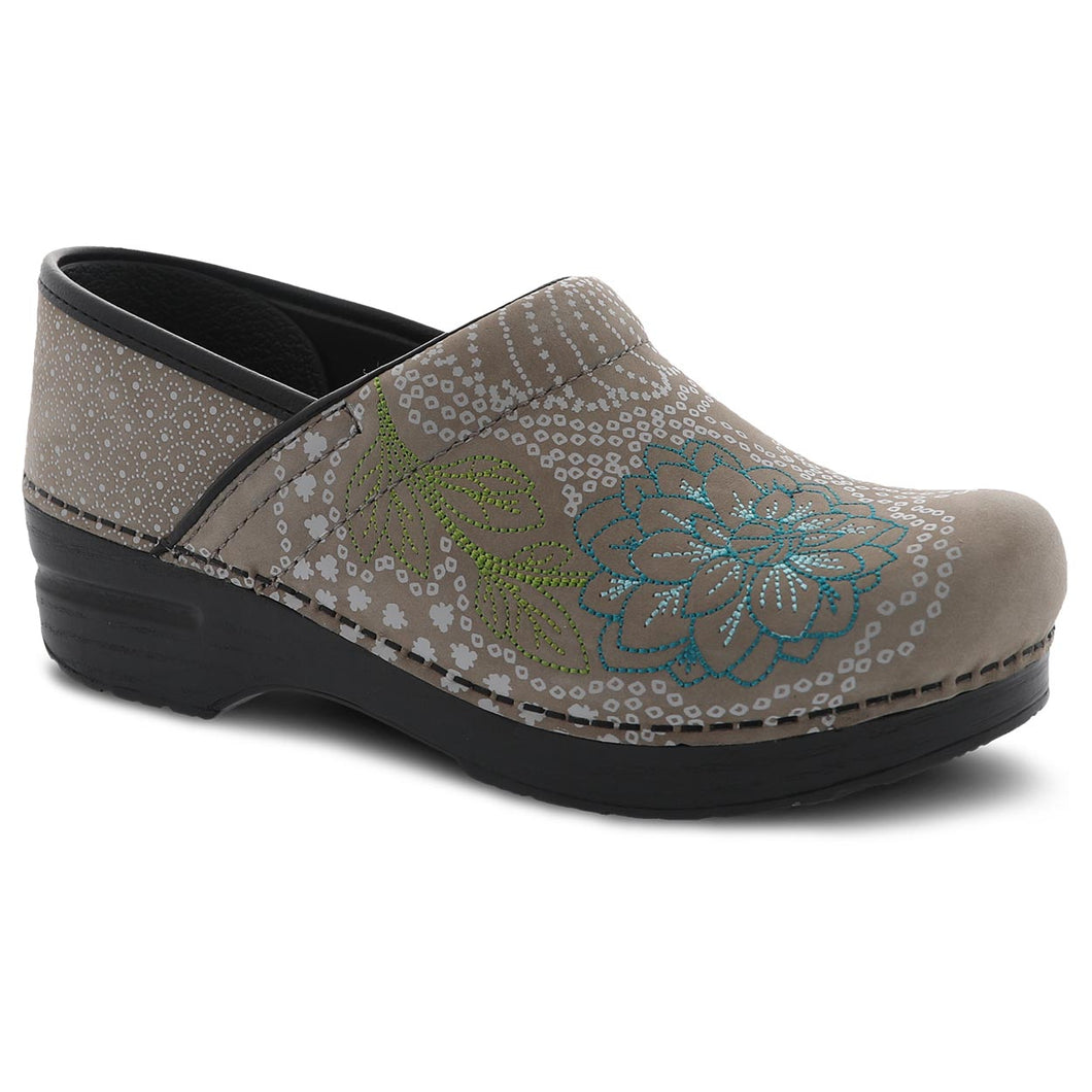Dansko Embroidered Pro Clog - Taupe Milled Nubuck