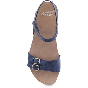 Dansko Rebekah Sandal - Navy Waxy Burnished Leather Top View