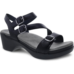Dansko Sacha Sandal - Black Burnished Leather