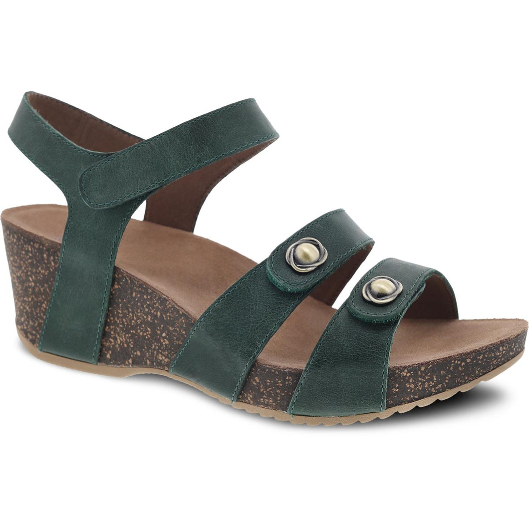 Dansko Savannah Sandal - Green Waxy Burnished Leather
