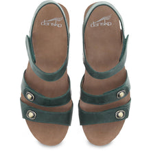 Dansko Savannah Sandal - Green Waxy Burnished Leather Top View
