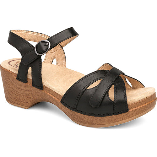 Dansko Season Sandal - Black Full Grain Leather