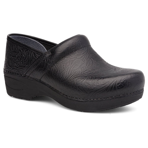 Dansko XP 2.0 Clog - Black Floral Tooled Leather
