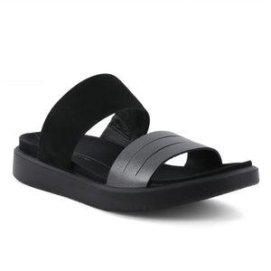 Ecco Flowt W Flat Sandal - Black Dark Shadow Metallic / Black