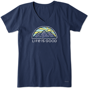 Life is Good - Flower Mountain V-neck T-Shirt