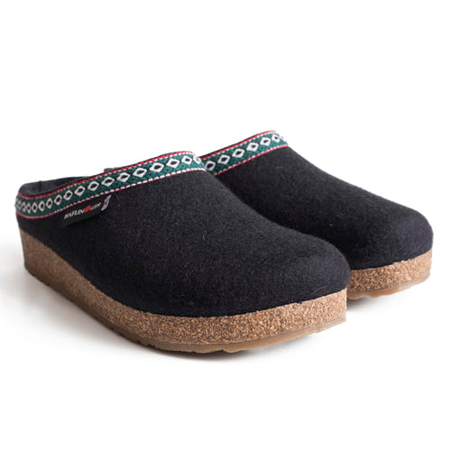 Haflinger GZ Wool Clog - Black