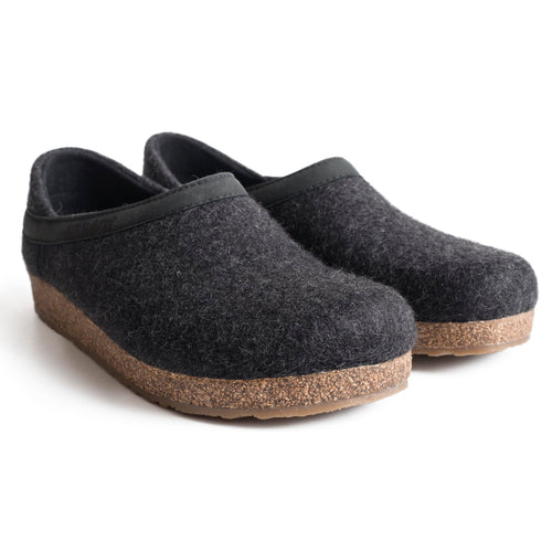 Haflinger GZ H Backed Wool Clog - Charcoal