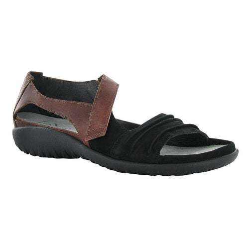 Naot Papaki Sandal - Black Velvet / Cinnamon Leather