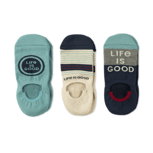 Life is Good Men's 3 Pack Cushioned No Show Socks
