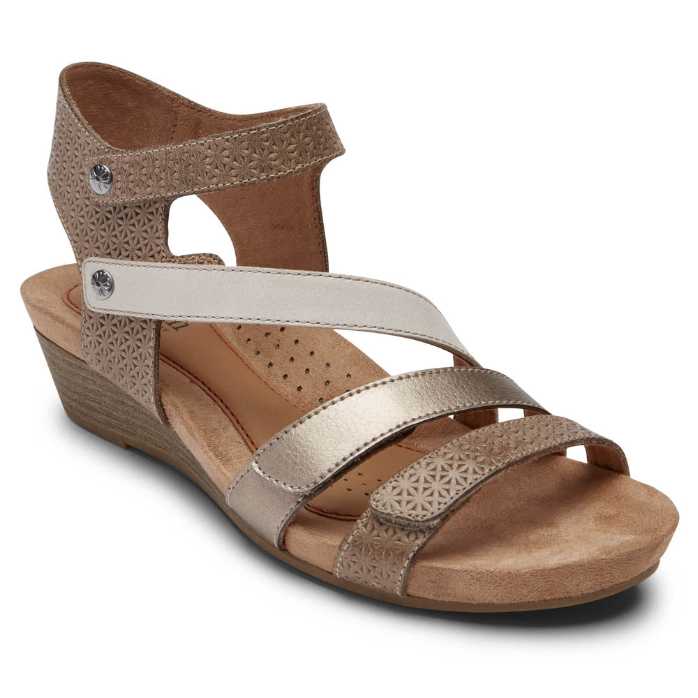 Rockport Cobb Hill Hollywood 4 Strap Sandal - Dove Multi