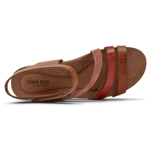 Rockport Cobb Hill Hollywood 4 Strap Sandal - Tan Multi Top