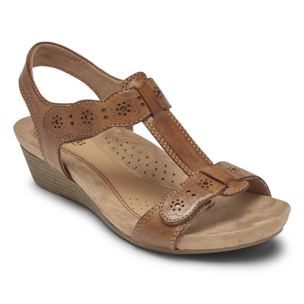 Rockport Cobb Hill Hollywood T-Strap Sandal - Tan