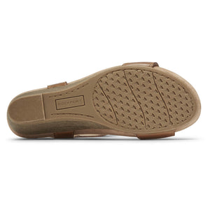 Rockport Cobb Hill Hollywood T-Strap Sandal - Tan sole