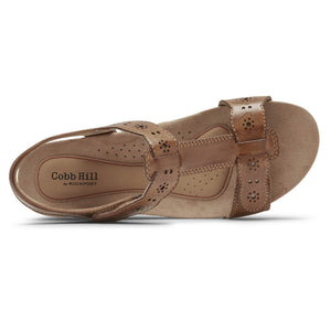 Rockport Cobb Hill Hollywood T-Strap Sandal - Tan top