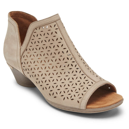 Rockport Cobb Hill Laurel Open-Toe Bootie - Taupe