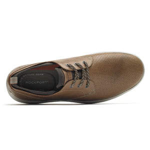 Rockport Zaden Plain Toe Oxford - Boston Tan Perforated Leather Top