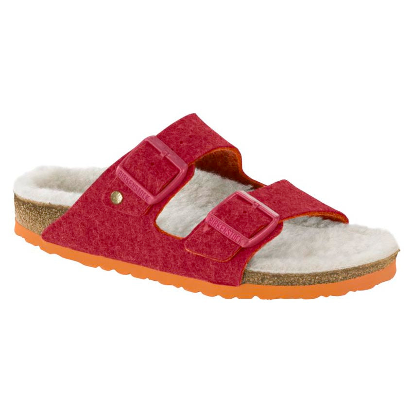 Birkenstock Arizona Happy Lamb Sandal - Double Face Fuchsia