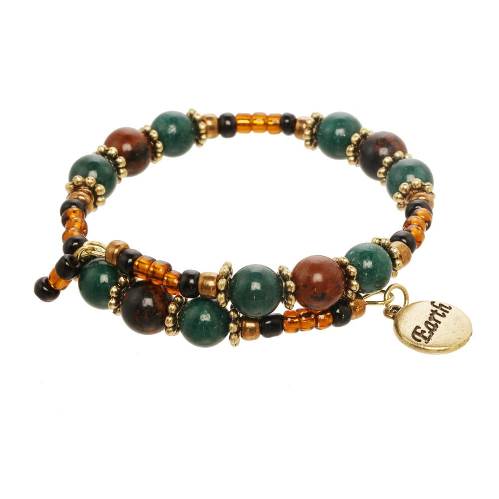 Earth Element Beaded Gemstone Wrap Bracelet