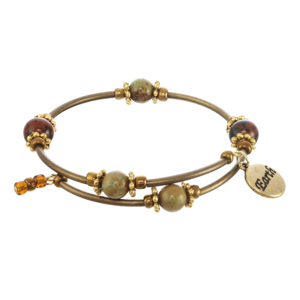 Earth Element Gold Tone Wrap Gemstone Bracelet
