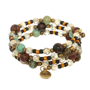 Earth Element Triple Wrap Gemstone Bracelet