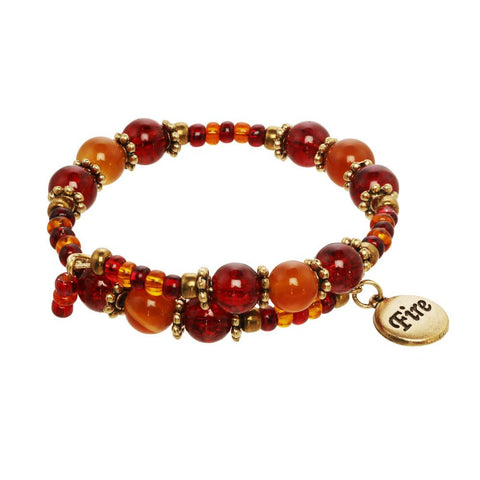 Fire Element Wrap Beaded Gemstone Charm Bracelet