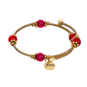 Fire Element Gold Tone Wrap Bracelet