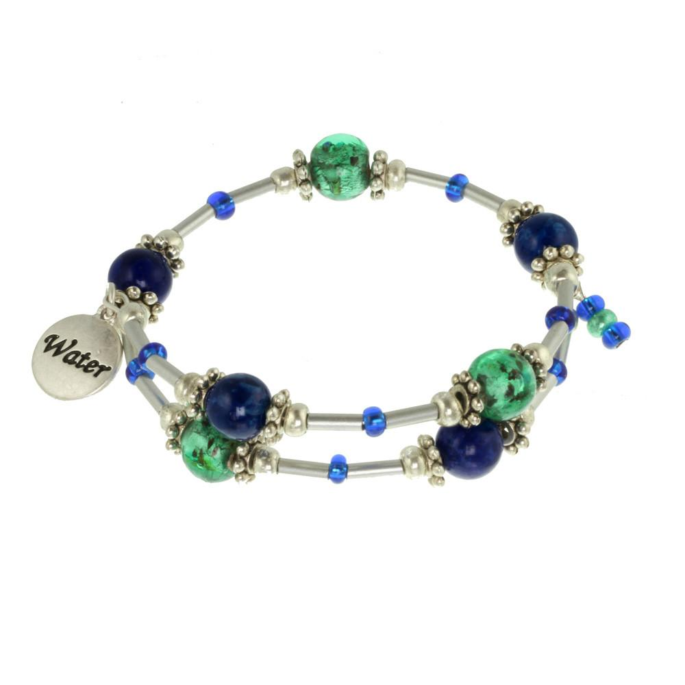 Water Element Silver Tone Beaded Gemstone Bracelet
