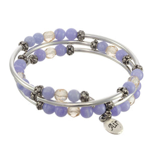 Air Element Triple Wrap Silver Tone Bracelet