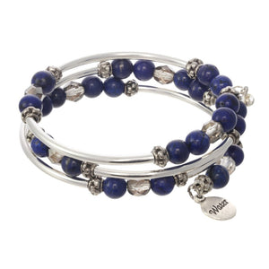 Water Element Triple Wrap Silver Tone Bracelet