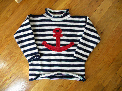 Blue & White Stripe Anchor Children's Sweater
