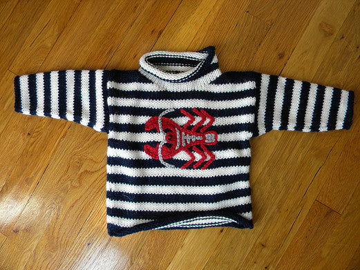 Blue & White Stripe Lobster Children's Sweater
