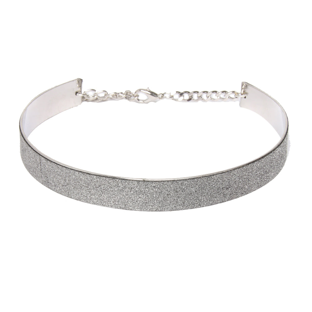 Light Grey 1.5cm Solid Glitter Metal Band Choker