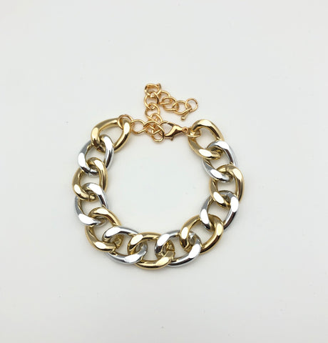 Gold and Silver Mixed Metals Bracelet