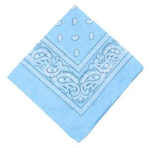 Light Blue Double Sided Paisley Cotton Bandana