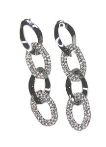 Silver Diamante Chain Link Earrings