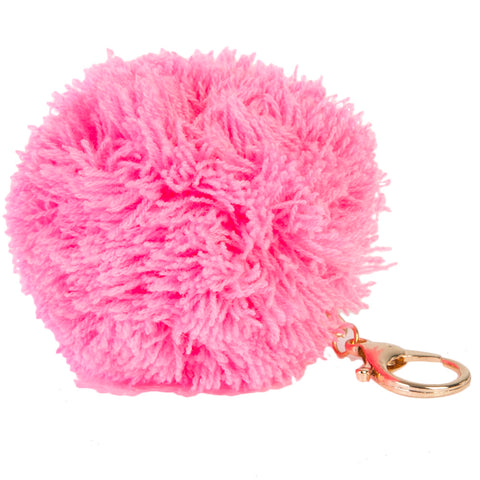 Pink Knitted Pom Pom Key Ring