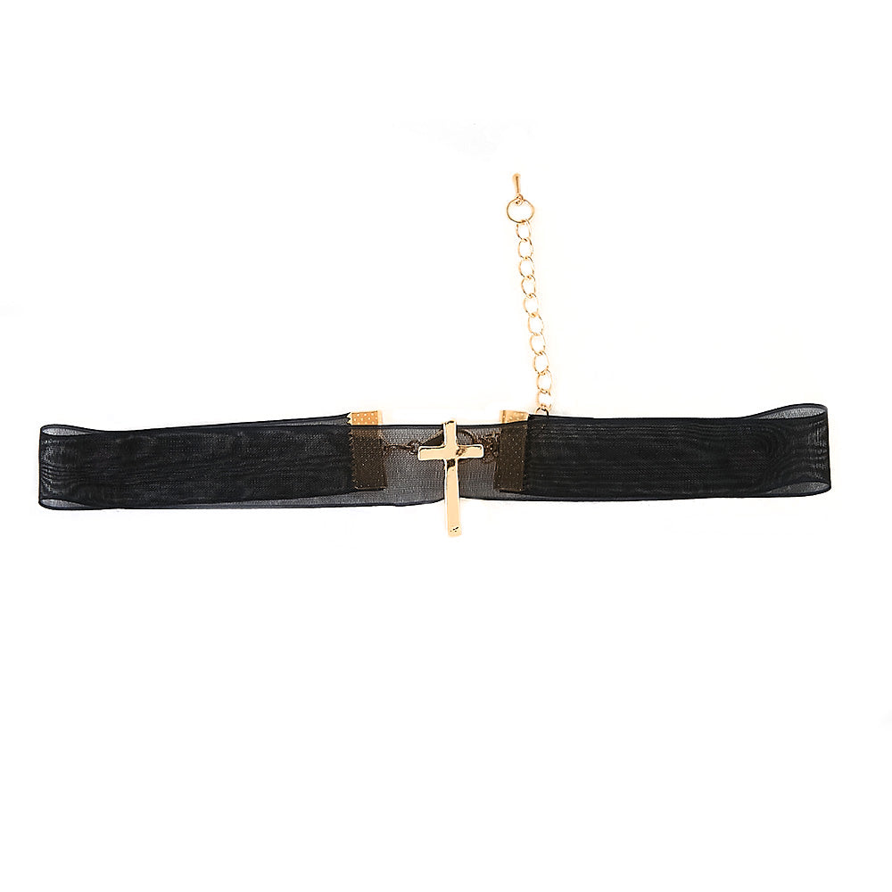Chiffon Ribbon Choker with Cross