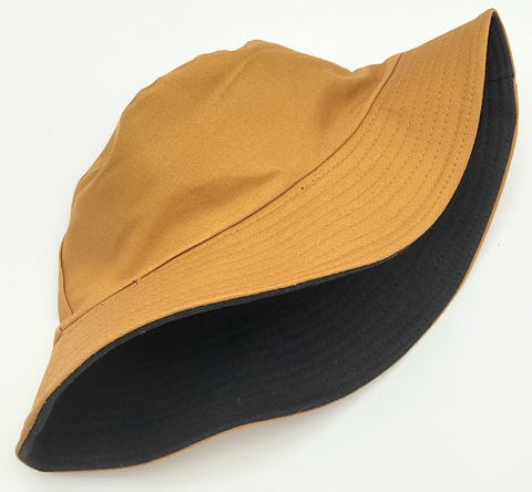 Tan and Black Reversible Bucket Hat