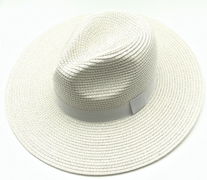 White Straw Fedora with Tonal Poly Band