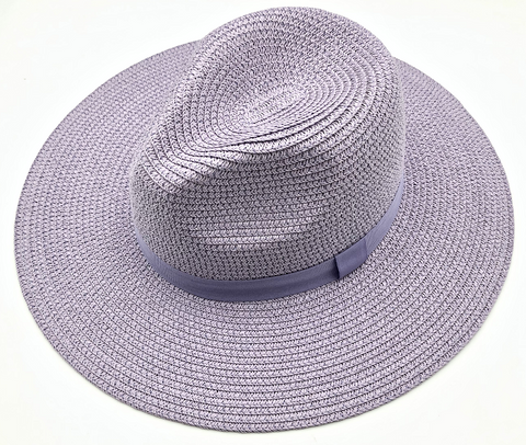 Lilac Straw Fedora with Tonal Poly Band