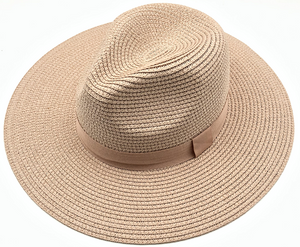 Blush Straw Fedora with Tonal Poly Band