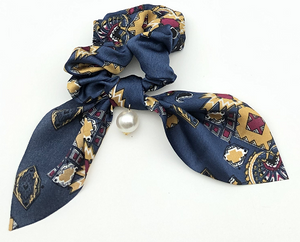 Navy Printed Satin Scrunchie with Pearl Detail