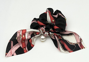 Black Chain Print Scrunchie with Pearl Drop