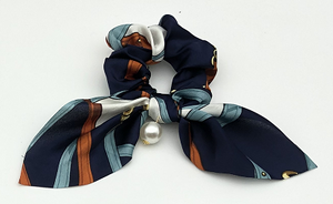 Navy Chain Print Scrunchie with Pearl Drop
