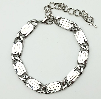 Silver Chunky Metal Swirl Link Anklet