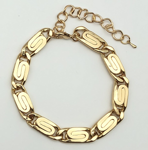 Gold Chunky Metal Swirl Link Anklet