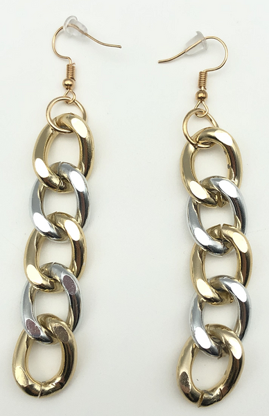 Gold and Silver Mixed Metals Chain Link Earrings