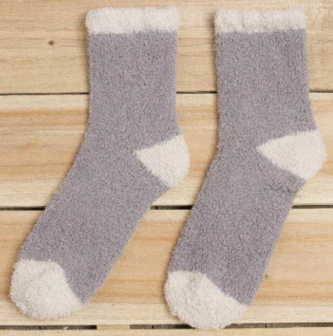 Grey Fluffy Lounge Socks