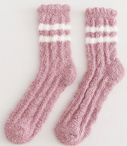 Pink Fluffy Lounge Socks with Contrast Stripes